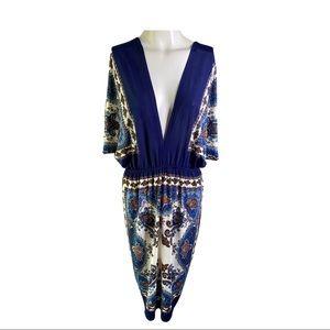 Tapestry Bohemian Slip On  Cover Up V-neck Dress